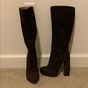 Tall brown BCBG leather boots Size 6